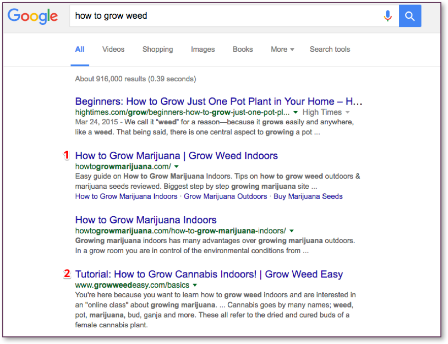 """How to grow weed"" Google Search Results"