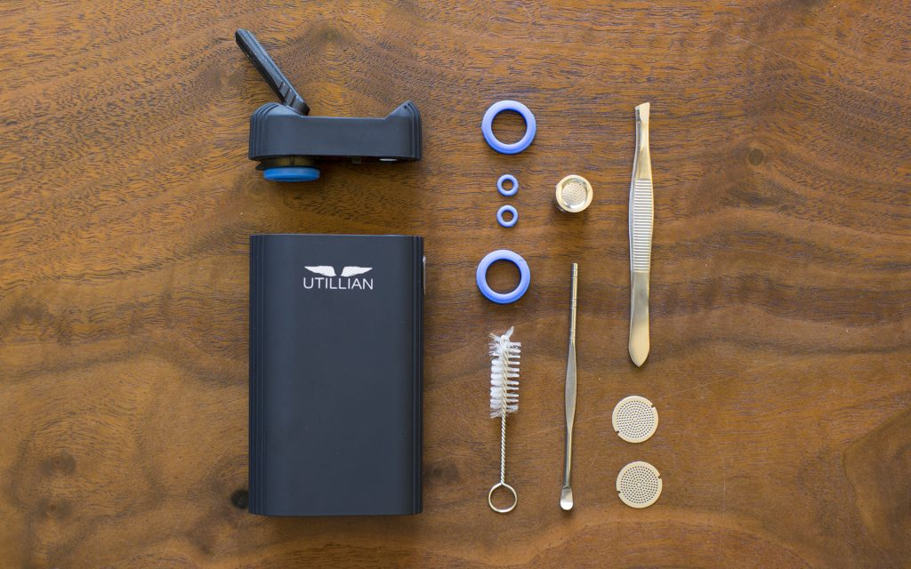 The Utillian 720 portable vaporizer and its accessories