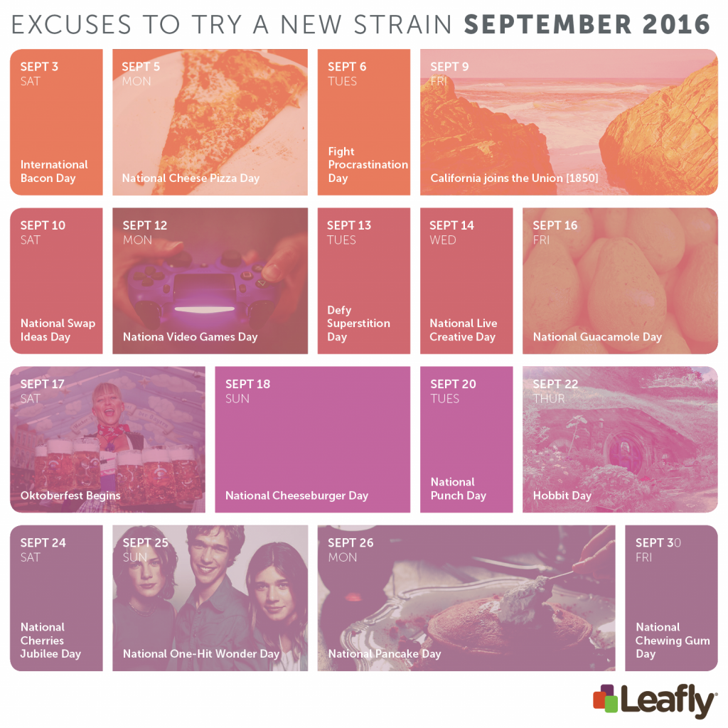 Excuses to try a new cannabis strain in September 2016