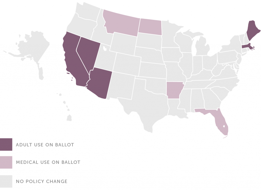 States voting on adult-use (recreational) and medical marijuana legalization