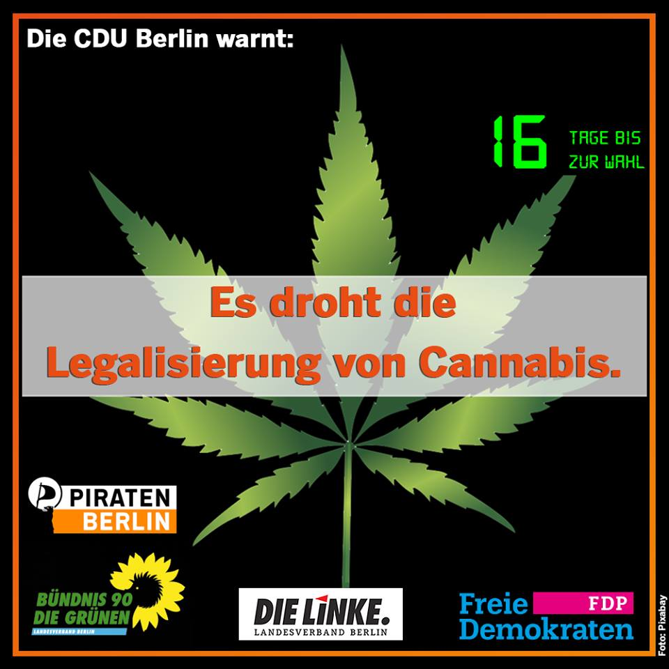 "Germany's Christian Democratic Union posted a online countdown to the election that warns, ""Legalization of cannabis is imminent."""