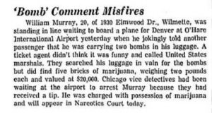Bill Murray's cannabis arrest in in Chicago