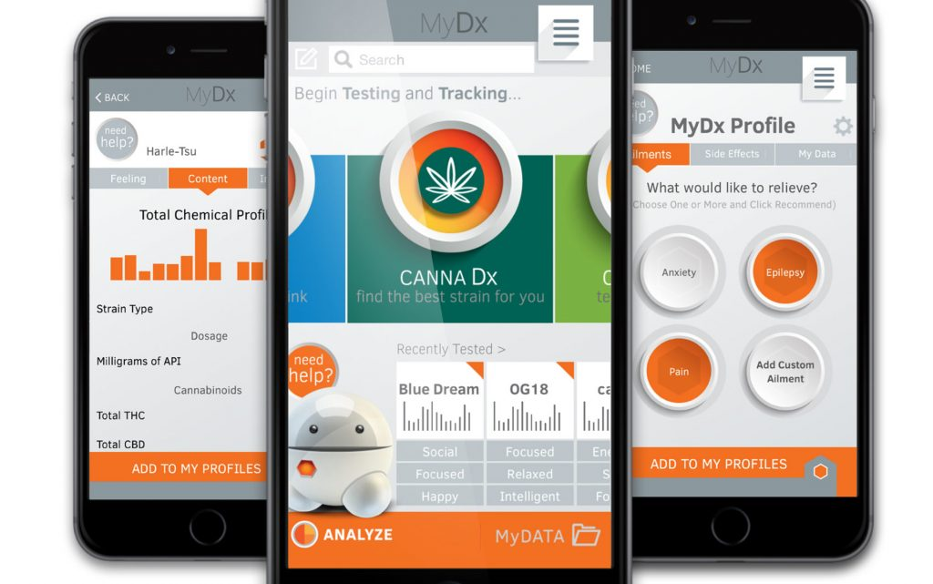 The MyDx smartphone app generates a chemical fingerprint for each cannabis sample, even suggesting similar strains. (Photo courtesy CDx Inc.)