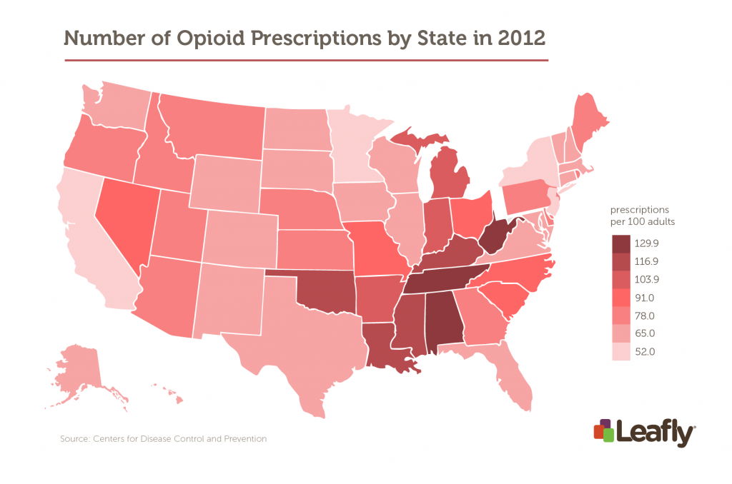 Number of opioid prescriptions by state. Some states have more prescriptions than people.