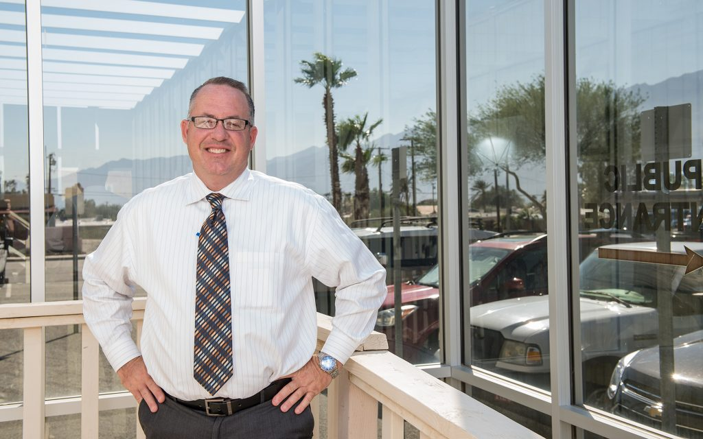 Desert Hot Springs Mayor Scott Matas poses for a portrait at city hall in Desert Hot Springs, CA. (Justin L. Stewart for Leafly)