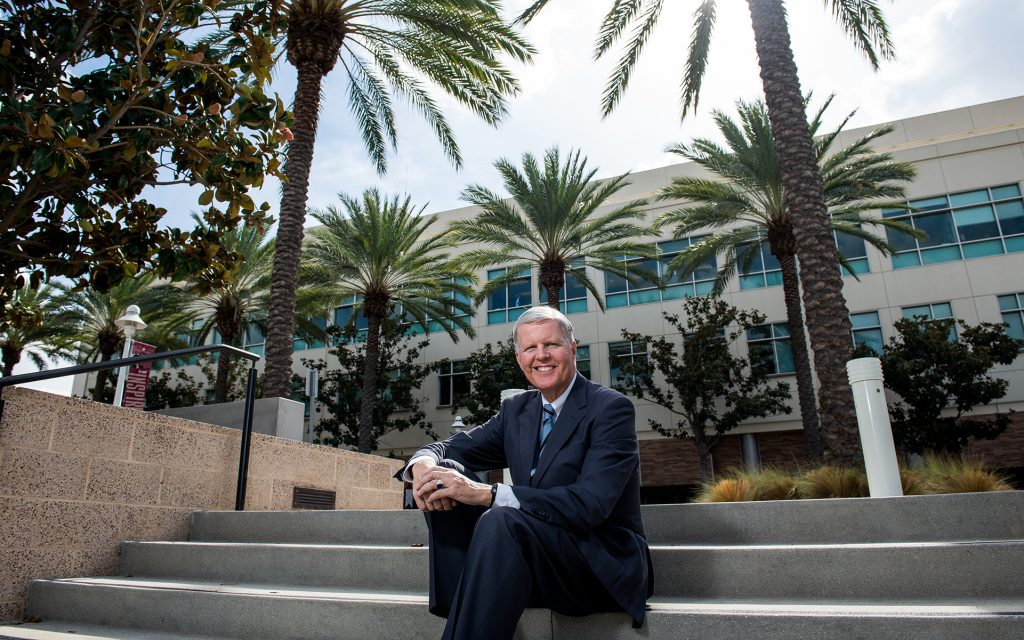 Professor Tom Campbell poses for portraits on the Chapman University campus Monday, November 1, 2016 in Orange, CA. (Justin L. Stewart for Leafly)