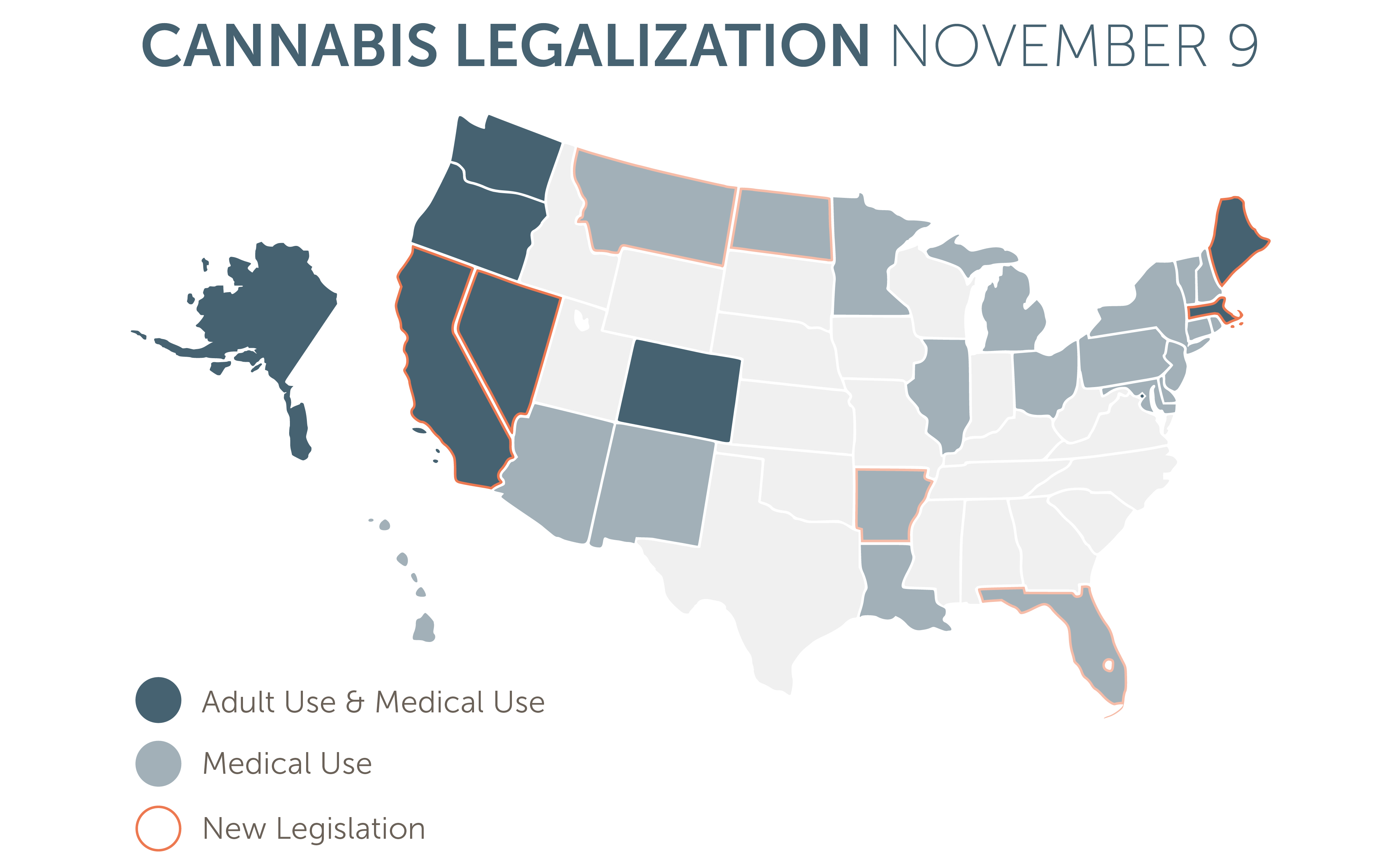 Which States Are Most Likely To Legalize Cannabis Next Leafly - Us map of legal weed 2017