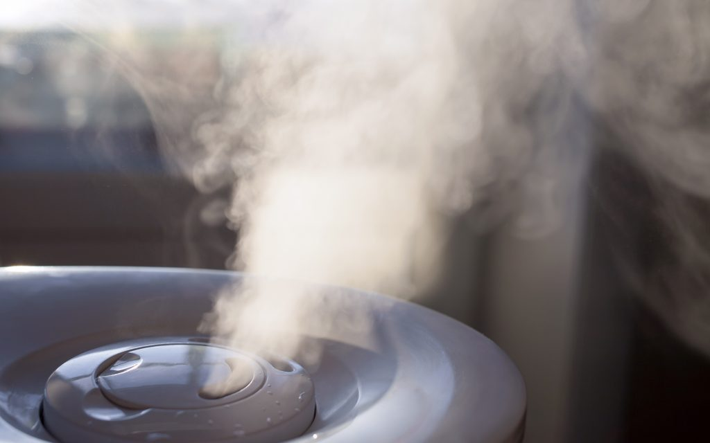 Vapor from humidifier in the morning light