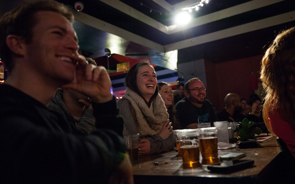 Bo Johnson's audience at Gateway cannabis comedy show at Jai Thai in Capitol Hill, Seattle