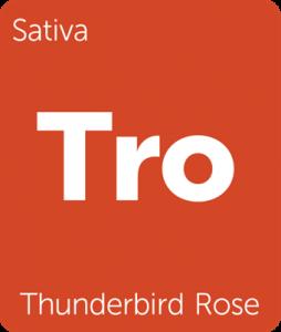 Leafly Thunderbird Rose cannabis hybrid strain