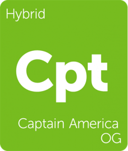 Leafly Captain America OG cannabis hybrid strain tile