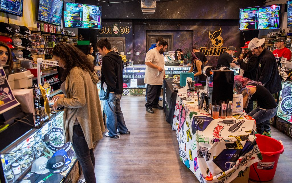 Cannabis customers at California Herbal Remedies (CHR) in Los Angeles, CA