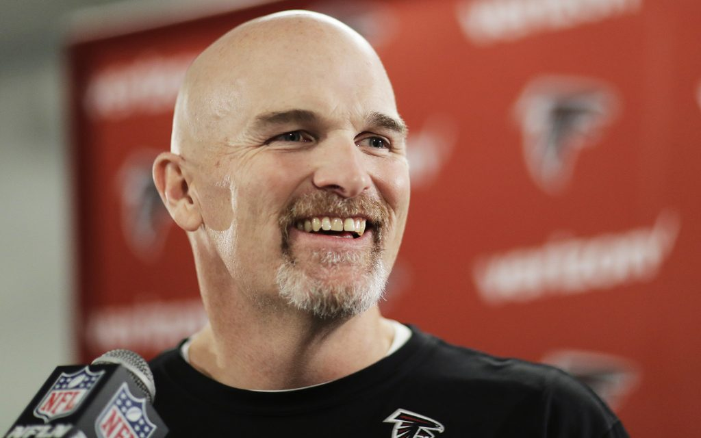 Atlanta Falcons head coach Dan Quinn answers questions from the media at the NFL football team's practice facility in Flowery Branch, Ga., Friday, Jan. 27, 2017. (David Goldman/AP)