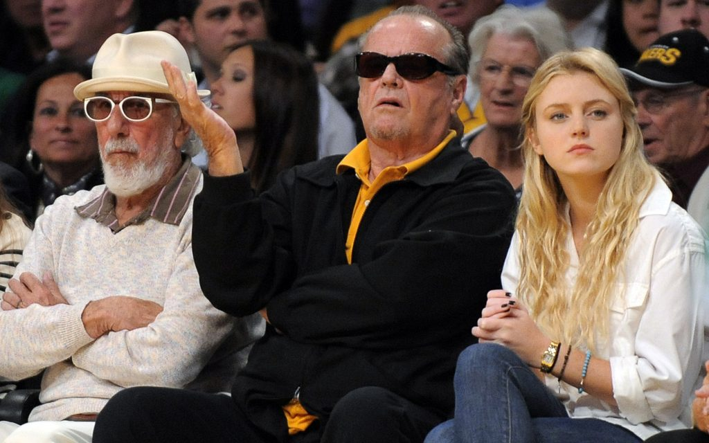 Actor Jack Nicholson, and his daughter, actress Lorraine Nicholson, watch with Lou Adler, right during the first half of Game 1 of the NBA basketball finals Thursday, June 3, 2010, in Los Angeles. (Mark J. Terrill/AP)