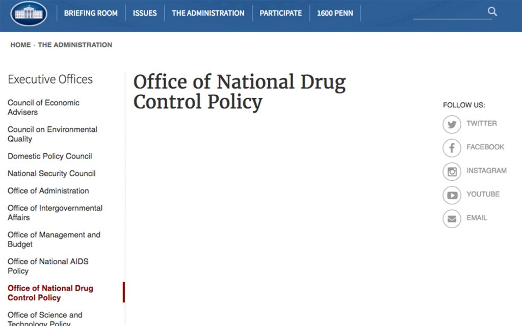 The White House website's ONDCP page has been blank amid the controversy. (whitehouse.gov/ondcp)