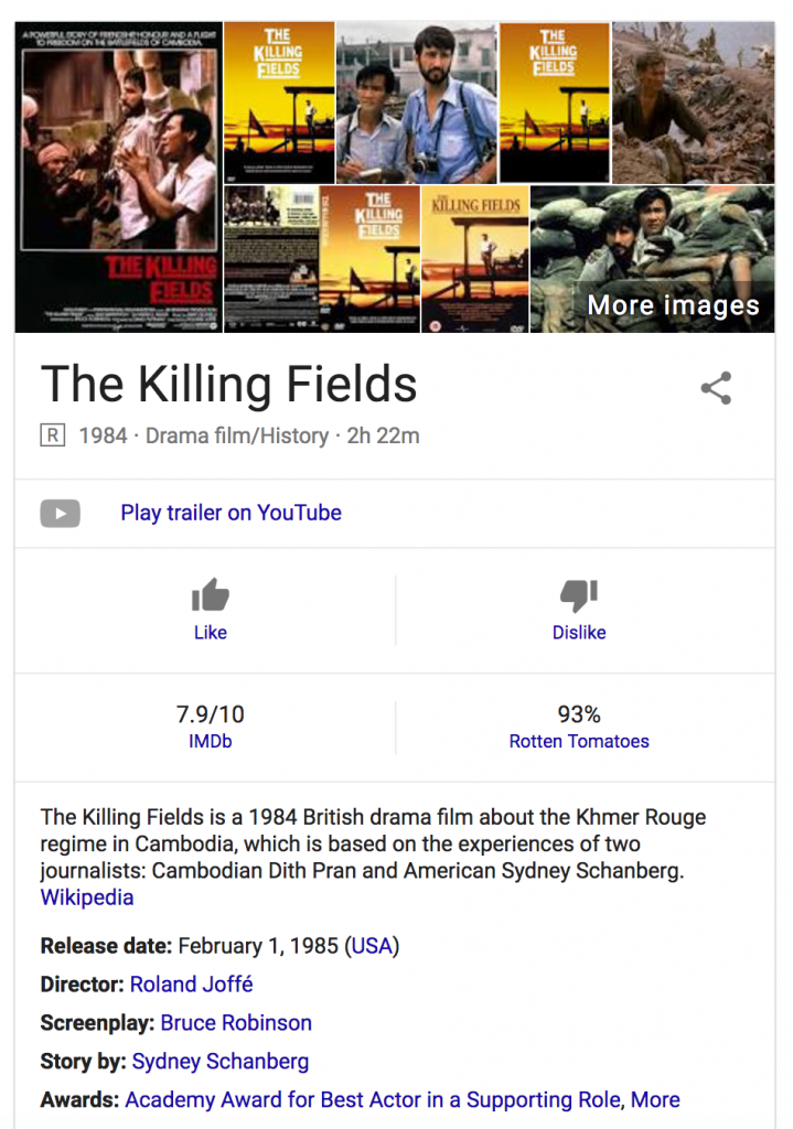 Google search results for 'The Killing Fields'