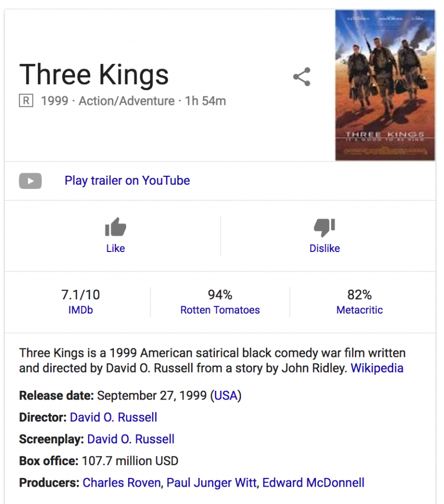 Google search result for '3 kings'