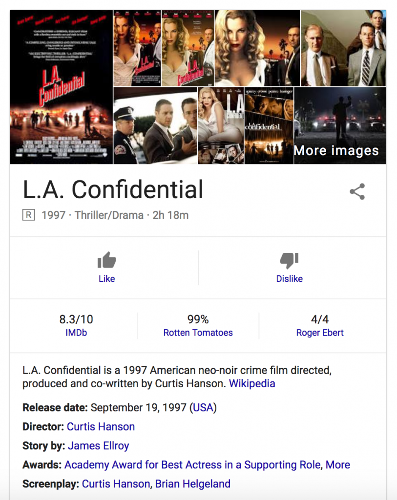 Google search results for 'LA Confidential'