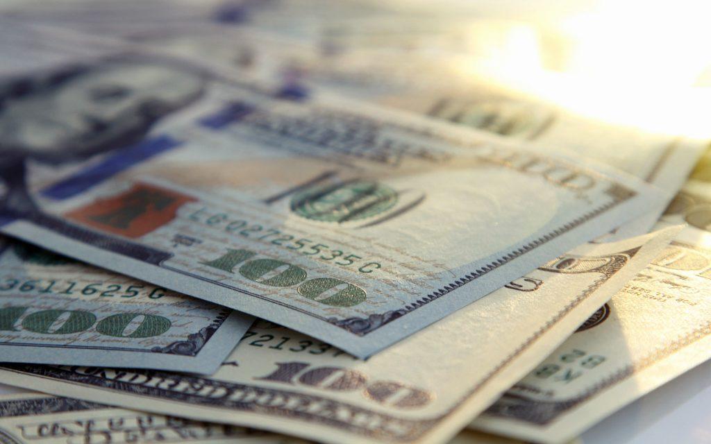 Money closeup of american hundred dollar bills