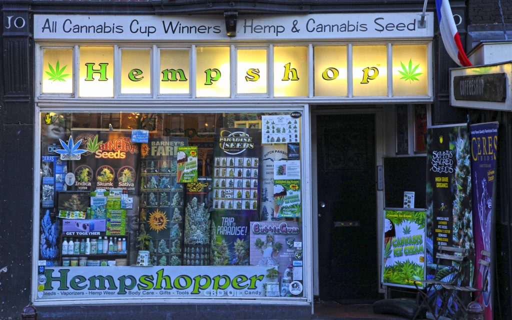 Showcase of cannabis shop, Amsterdam