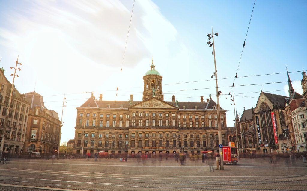 Long exposure - Royal Palace in Amsterdam, Netherlands