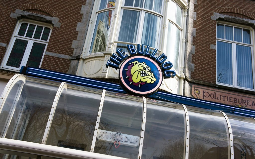 Logo of the Bulldog coffee shop in Amsterdam