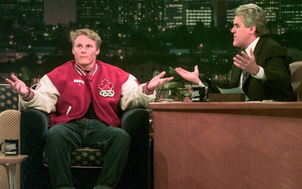Canadian Olympic gold medalist Ross Rebagliati and NBC Tonight Show host Jay Leno, left, gesture to the studio audience as they joke about marijuana use Monday, Feb. 16, 1998 during taping of the show in Burbank, Calif. Rebagliati nearly lost the gold medal in snowboarding when a routine drug test showed evidence of marijuana in his system. Rebagliati was allowed to keep the gold medal. (/Susan Sterner/AP)
