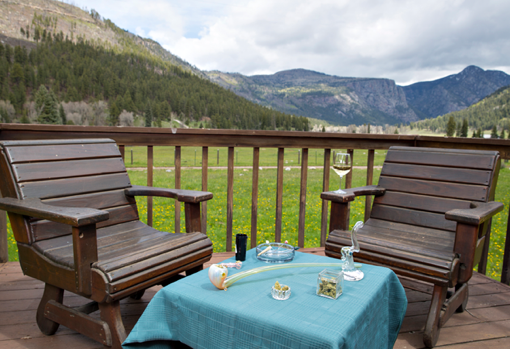 Relaxing deck at the Aspen Canyon Ranch in Colorado