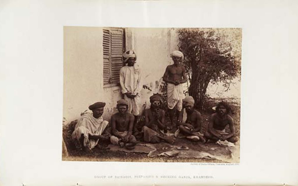 """Group of Bairagis preparing and smoking ganja, Khandesh."" (Image Courtesy of Report of the Indian Hemp Drugs Commission, 1894)"