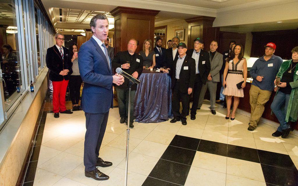 Gavin Newsom speaking at a cannabis conference