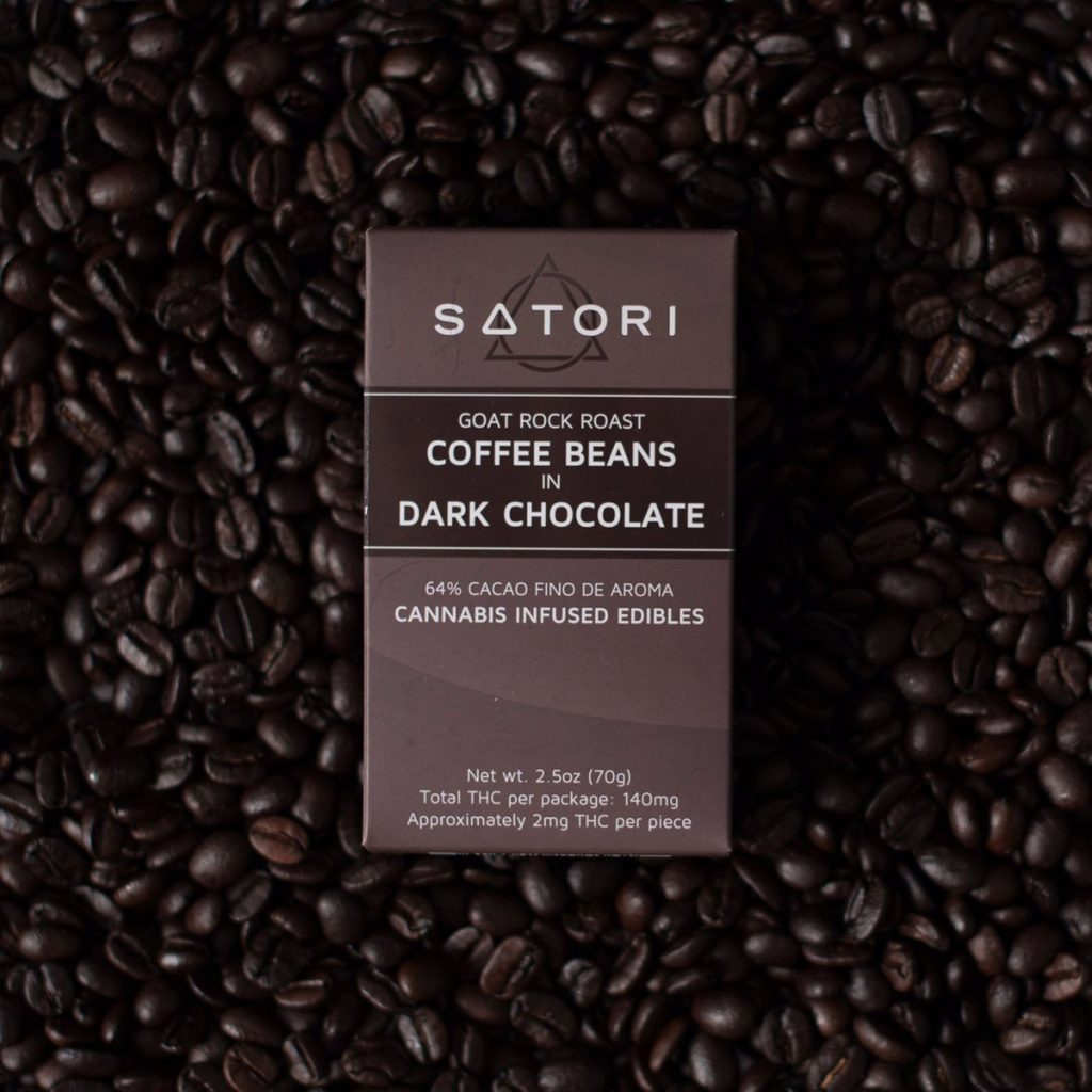 Satori Cannabis-Infused Coffee Beans in Dark Chocolate