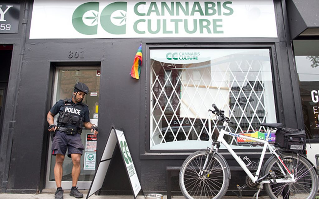 JUNE 23: Police removed marijuana and cannabis oil following a raid where three people were arrested at Cannabis Culture on Queen Street West in Toronto Thursday afternoon. (Lucas Oleniuk/Toronto Star via Getty Images)