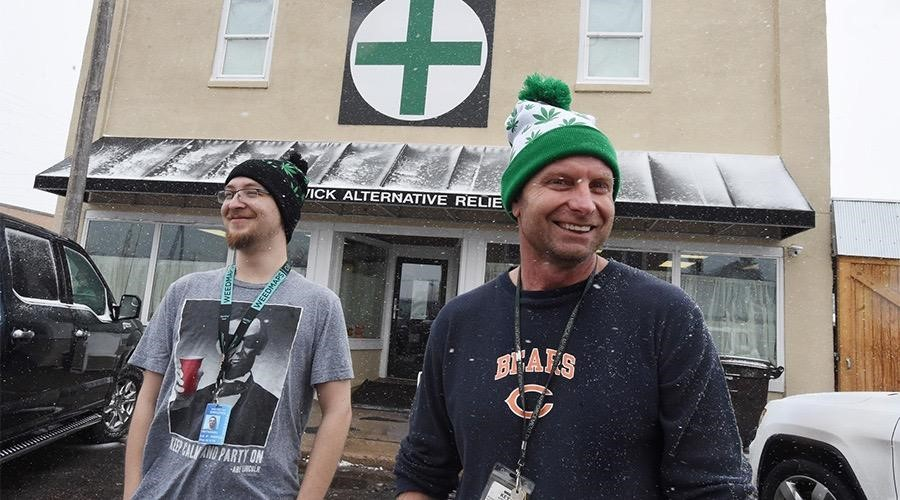 Kurt Hodel, right, came from suburban Chicago to eastern Colorado to work in the marijuana industry. Nathaniel Kollarits works for the family business, Sedgwick Alternative Relief, where Hodel is general manager. (Jerilee Bennett, The Gazette)