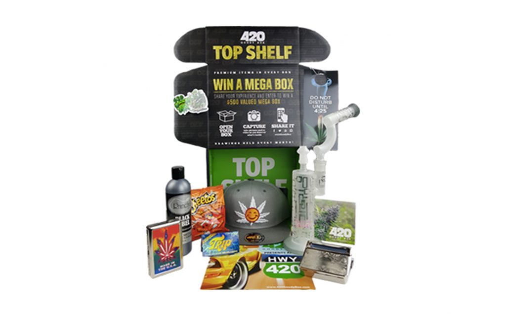 The 420 Goodie Box comes with weed essentials like glass and rolling papers