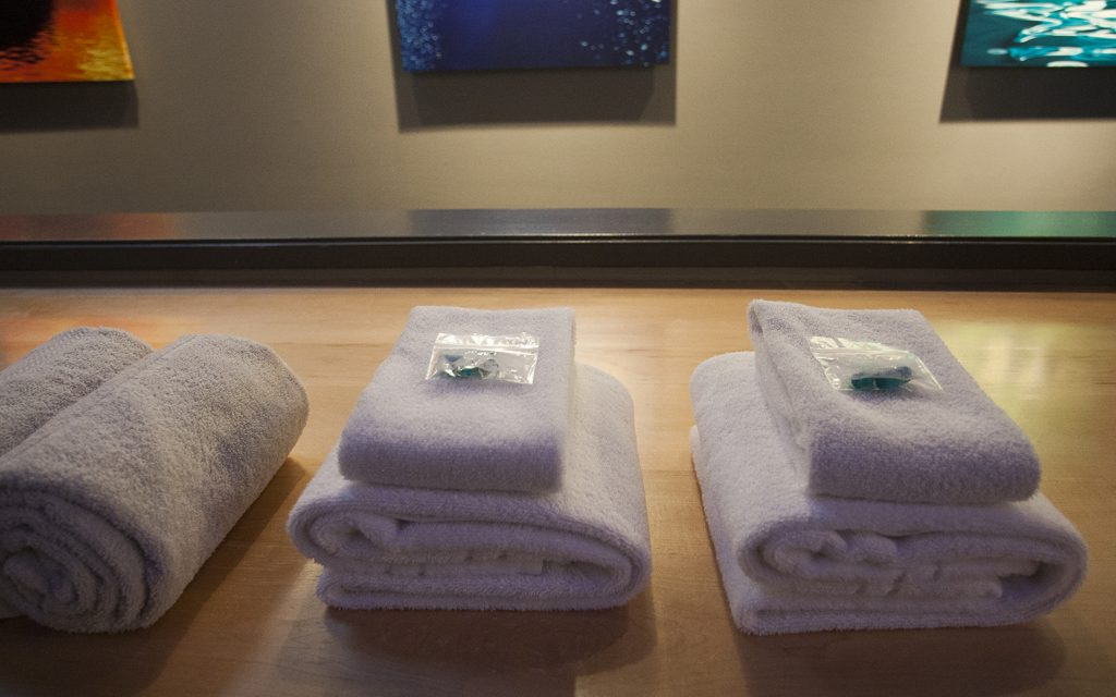 Towels and ear plugs provided at the sensory deprivation tank float facility