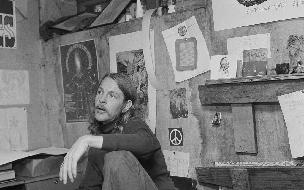 Ron Thelin, owner of the Psychedelic Shop, says the hippie movement is declining and nearly dead, 1967, San Francisco, Calif. Thelin points out inactivity in the Haight-Ashbury are so pronounced he's in the hole about $6,000. He plans to close the store on Oct. 5, 1967 and stage a three-day Death of a Hippie observance. (Robert W. Klein/AP)
