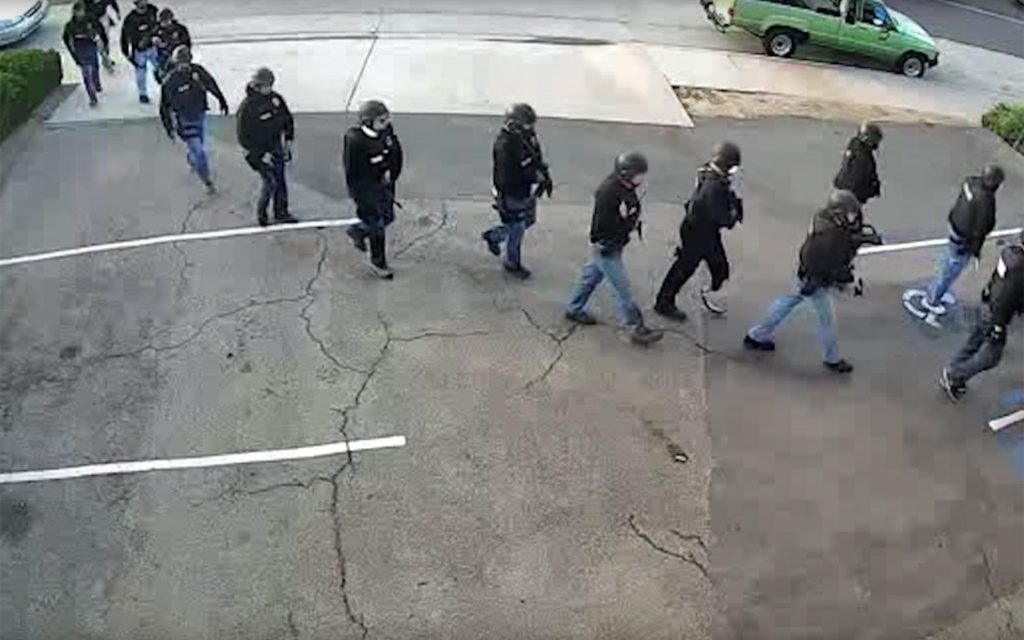 Security camera footage of the 2016 raid of Med-West's facilities show law enforcement clad in body armor and carrying assault rifles. (Courtesy of Med-West)