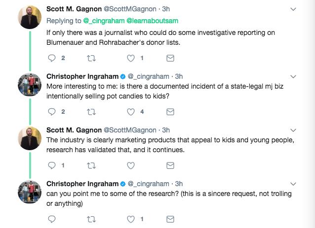 A Twitter exchange between legalization opponent Scott Gagnon of SAM Maine and Washington Post reporter Christopher Ingraham