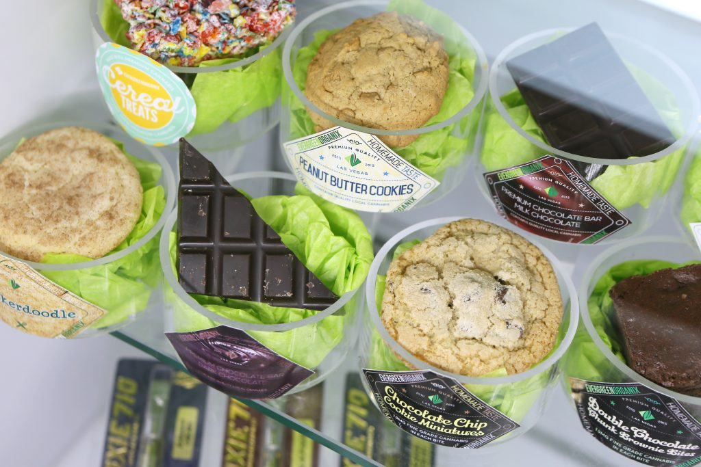 Retailers had plenty of product on hand, including these infused edibles at Essence Cannabis in Las Vegas. (Ronda Churchill for Leafly)