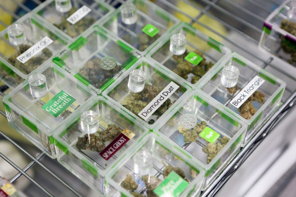 Sniff jars containing cannabis samples allow customers to smell the terpenes at Essence cannabis dispensary in Las Vegas. (Ronda Churchill for Leafly)