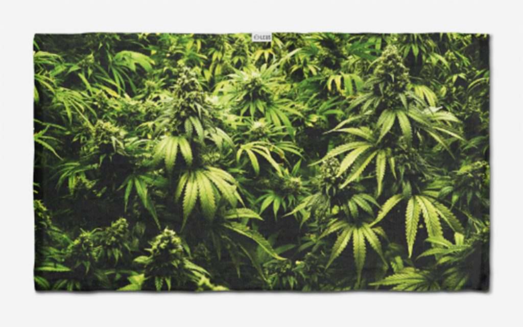"""Fly High"" cannabis print beach towel"
