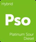 Leafly Platinum Sour Diesel hybrid cannabis strain