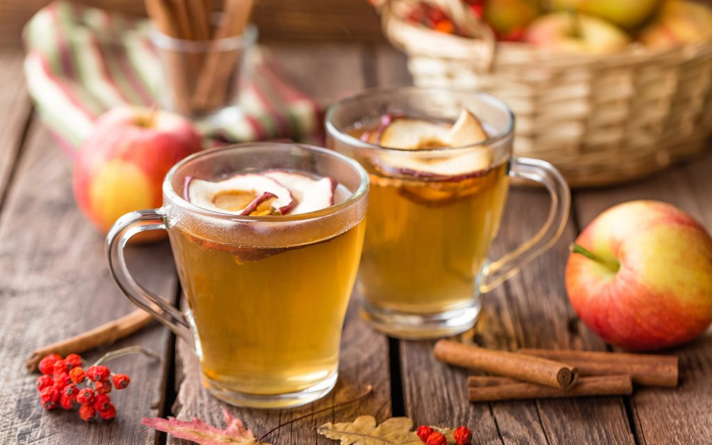 chilled apple cider with cbd simple syrup