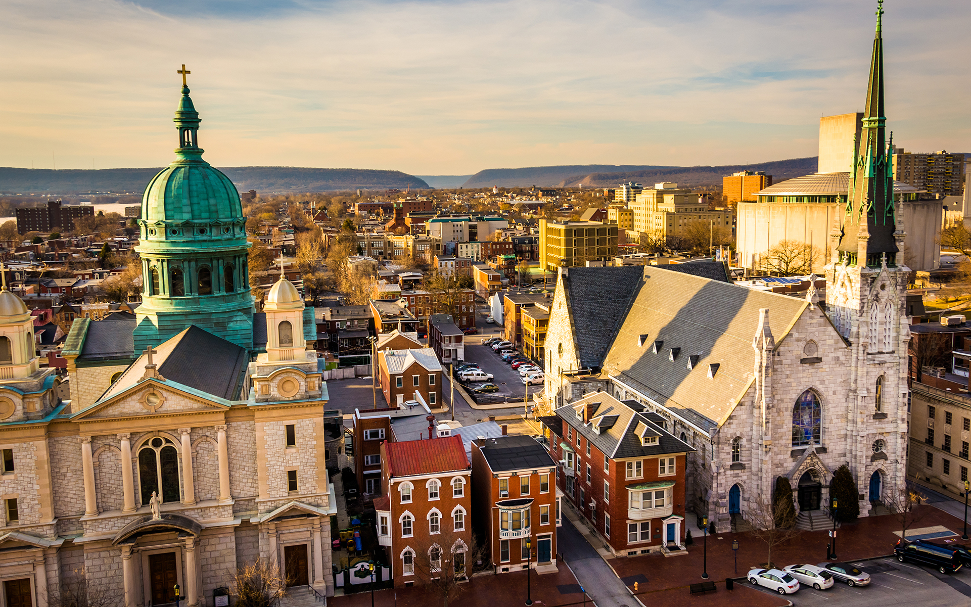 The churches and neighborhoods seen from the South Street Parking Garage in Harrisburg, Pennsylvania.