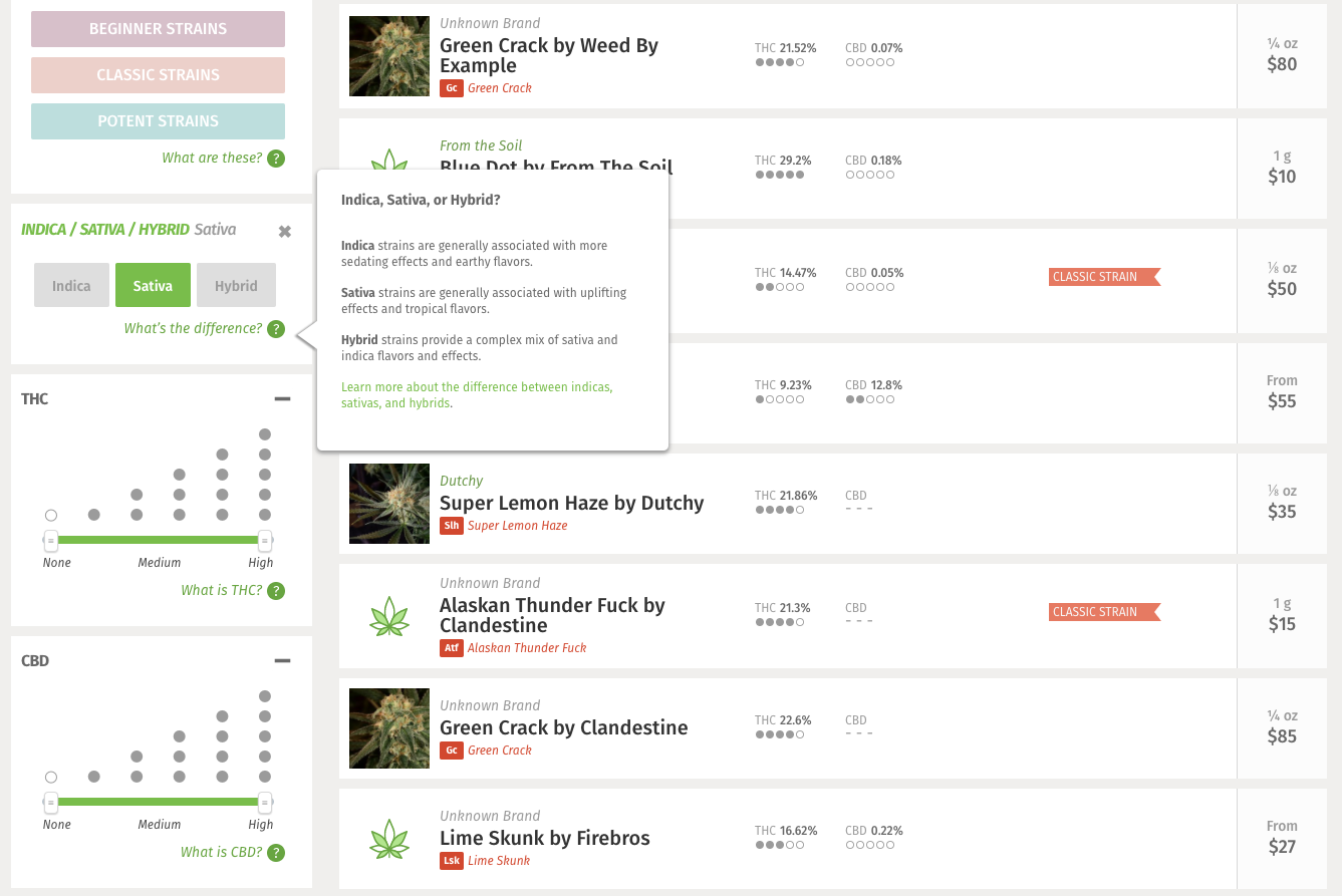 Leafly's new cannabis dispensary menu system with an expanded tool tip to help explain each filter option.