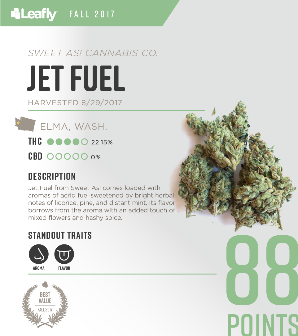 Sweet As! Cannabis Co.'s Jet Fuel: the best value cannabis strain in Washington state for fall 2017