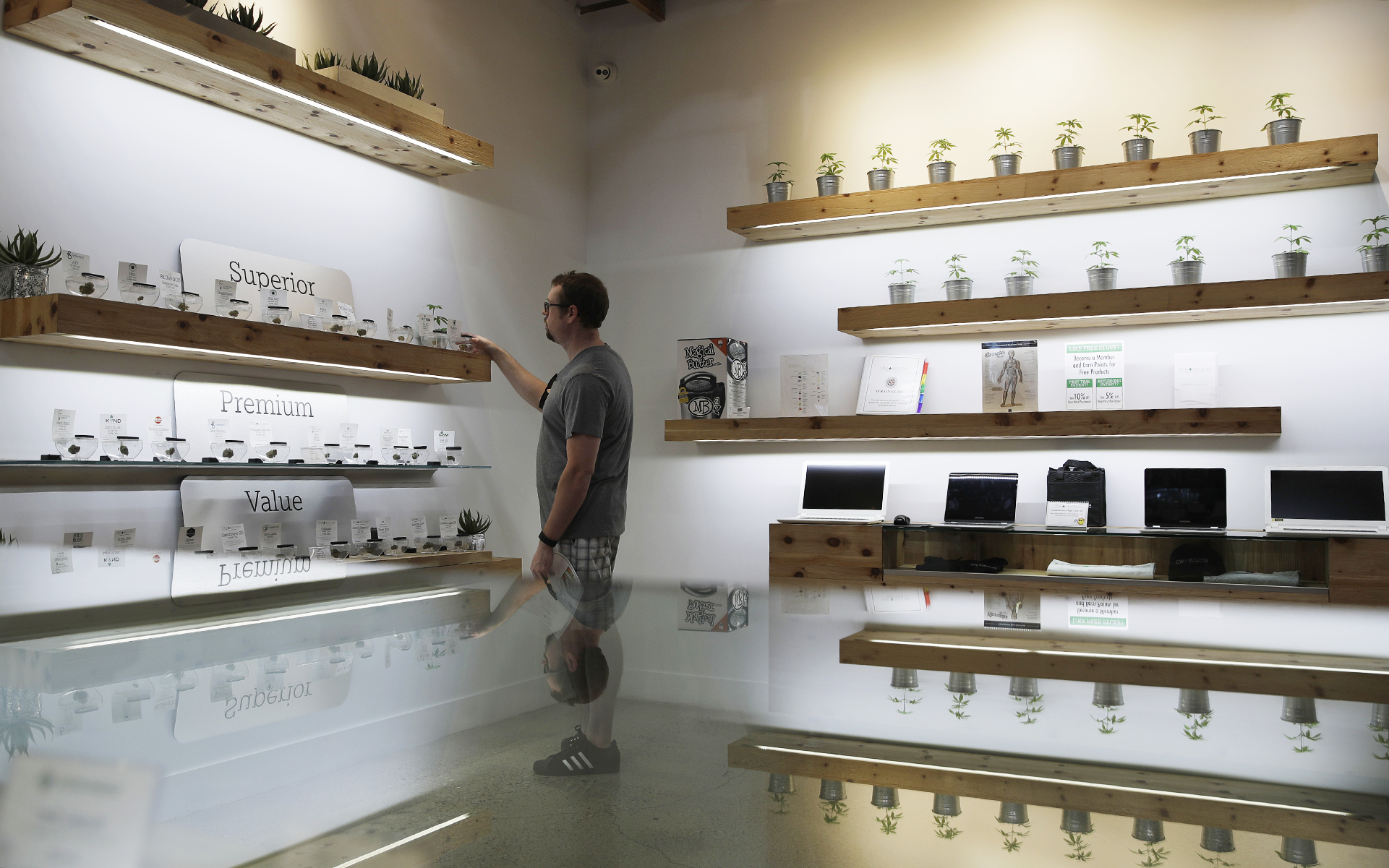 The Source dispensary in Las Vegas competes with a robust black market. (AP Photo/John Locher, File)