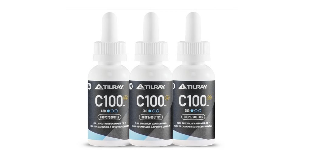CBD droplet bottles from Tilray