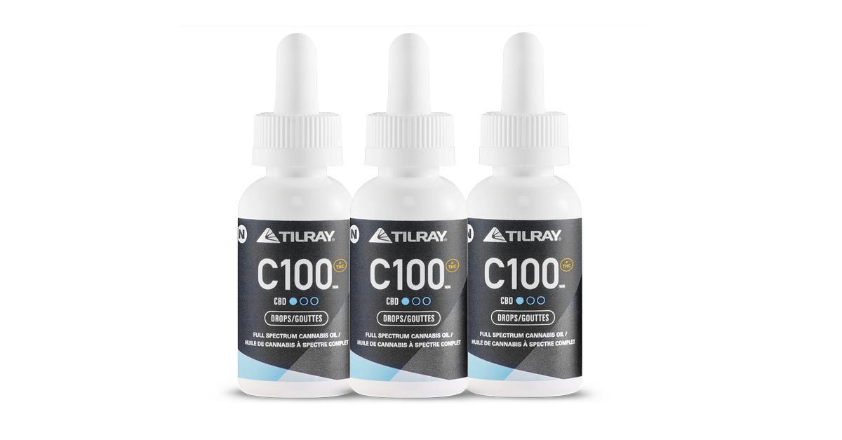 CBD droplet bottles from Tilray