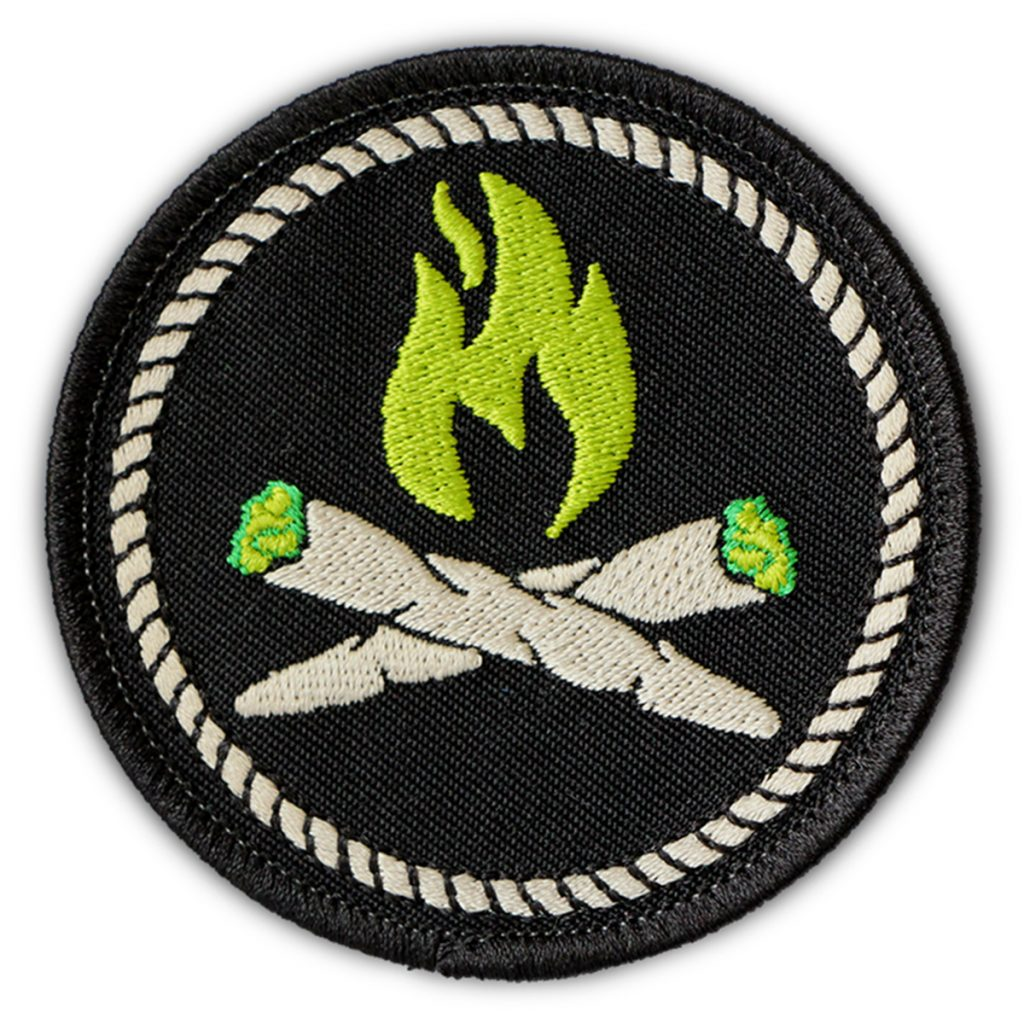 Iron on weed patch #4: Stoner Campfire Merit Patch by The Patch Parlour Collective